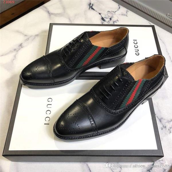 Diseñador de moda de cuero genuino de los hombres hechos a mano del banquete de boda calzado Square Toe Derby hombre zapatos de vestir formales