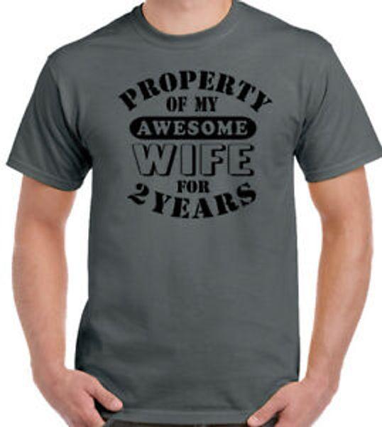 Benim Müthiş Eşim Erkek Komik 2nd Düğün Yıldönümü T-Shirt Hediye 2 Yıl Kocası