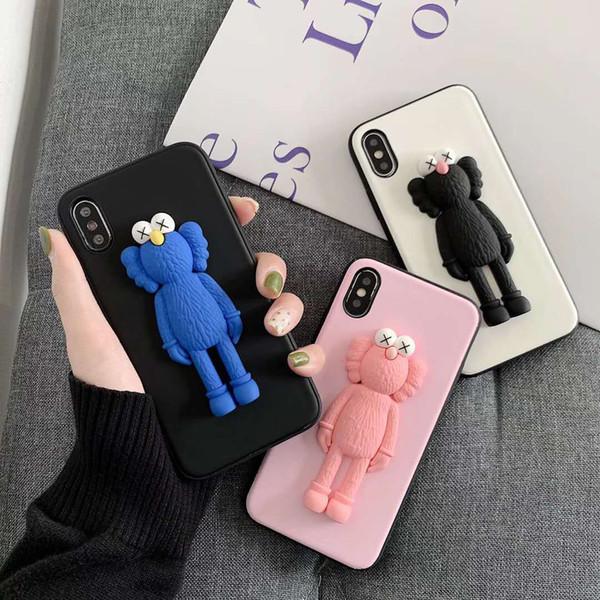 New Fashion 3D Cartoon Sesame Street Case for iPhone X XR XS MAX 8 7 6 6S plus Cute KAWS Doll Scrub Soft Silicone TPU Cover Coque