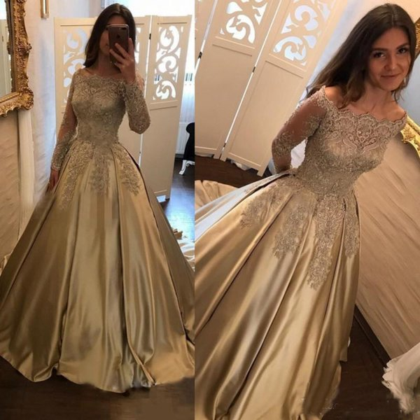 Dubaï manches longues Robes de bal 2020 formelle SOIRÉE Pageant Robes dentelle d'or robes de soirée Custom Made