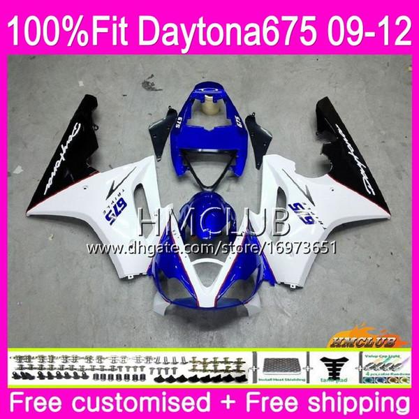 Injection For Triumph Daytona 675 09 10 11 12 Bodywork 44HM.6 Hot White Blue Daytona-675 Daytona675 Daytona 675 2009 2010 2011 2012 Fairing
