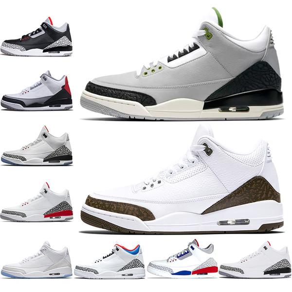 Nike Air Jordan Retro 3 Erkekler Basketbol Ayakkabı Mocha Klorofil Katrina Tinker JTH NRG Siyah Çimento Ücretsiz Atış Hattı Kore Tasarımcı Eğitmeni Spor Sneakers Boyutu 8-13