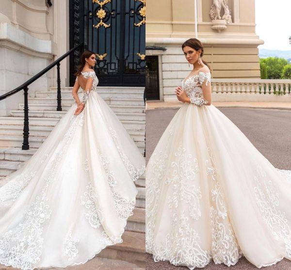Elegante manga larga una línea vestidos de novia apliques de encaje ilusión joya cuello barrido tren vestido de novia vestido de novia BA5462