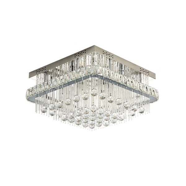 New arrival modern dimmable square crystal ceiling chandelier lighting luxury chrome flush mount chandeliers lights for bedroom foyer