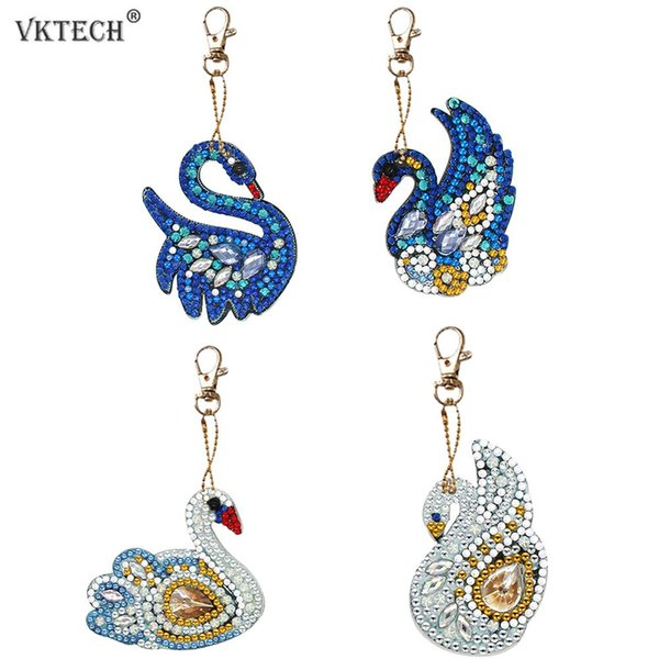 best selling Home & Garden 4pcs Swan DIY Full Drill Special Shaped Diamond Painting Keychain Keyring Gift Women Bag Decoration Pendant Diamond Embroidery