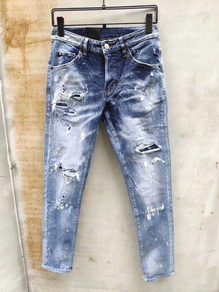 Delik Yıkanmış İtalyan Marka Erkek Jeans ağartılmış İnce Jeans Günlük Moda Kalem Pantolon Fermuar Denim Jeans Ripped