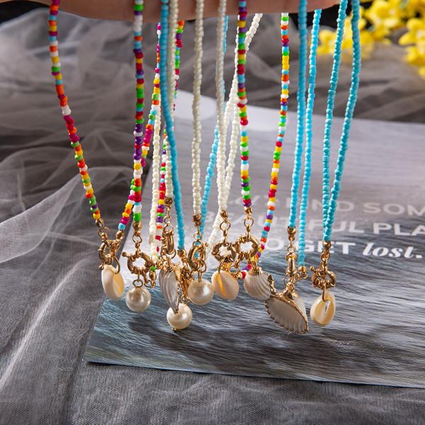 Collar de conchas de cowrie Cuentas colgantes Collares Gargantilla Bohemio Multicolor Gargantillas Encanto Collar largo Declaración Joyería de moda Regalo
