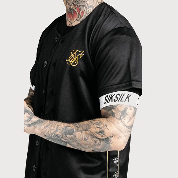 Camisa de beisebol T-shirt Das Mulheres Dos Homens de Hip Hop Sik Seda T-shirt De Beisebol Cor Preto e Branco de Algodão Camisetas T Plus Size M-XXL