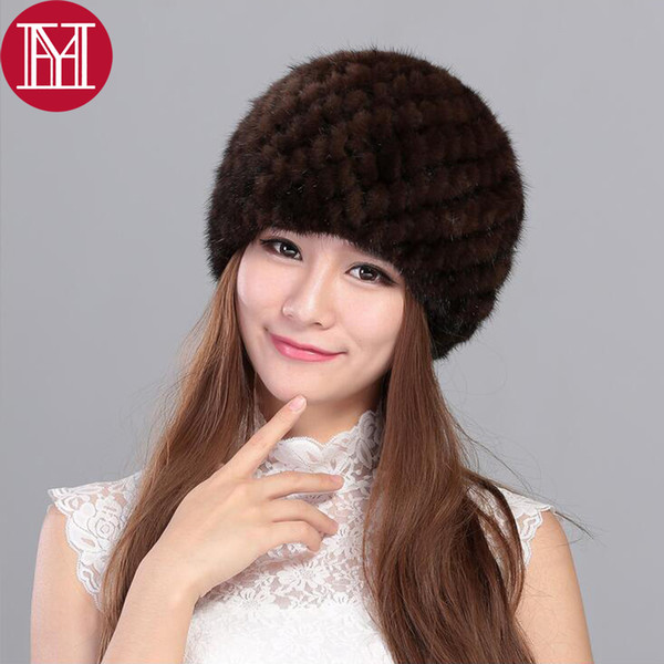 New Lovely Real Mink Fur Hat For Women Hot Sale Winter Knitted Real Mink Fur Beanies Cap Wholesale And Retail Real Mink Fur Caps S18120302