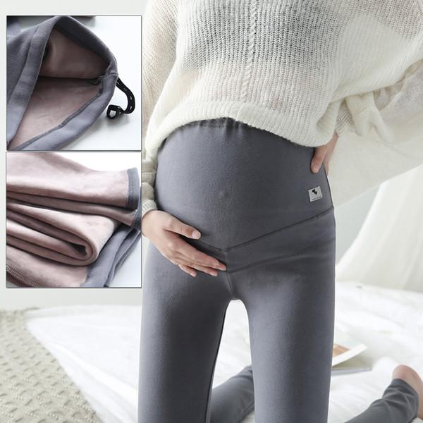 Leggings maternidade gravidez com fleece calças de inverno maternidade leggings mulheres grávidas calças quentes de veludo cintura ajustável