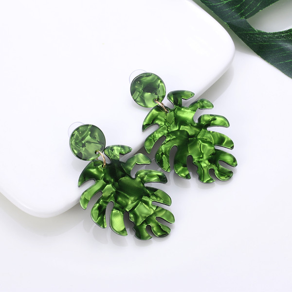 733d3740b 1 Pair Bohemian Monstera Leaf Drop Dangle Earrings Women Acrylic Statement Tropical  Plant Jewelry Brinco Bijoux