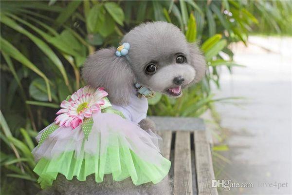 F31a dog og cat summer cute dresses dog summer dress sweet pet princess dresses puppy Wedding Skirts