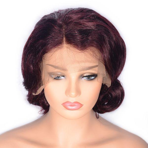 Front Lace Real Hair Headgear Wave Wine Red Nuova vendita calda Moda Top Universale semplice femminile