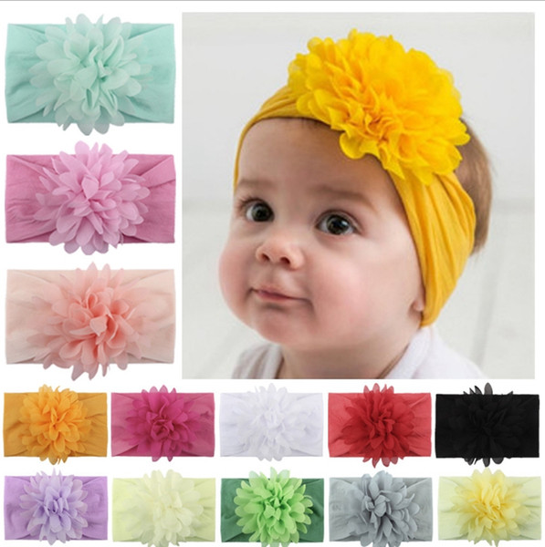 Newborn Nylon Turban Flower Head Wraps Baby Headband Hair Band Bow Headwear