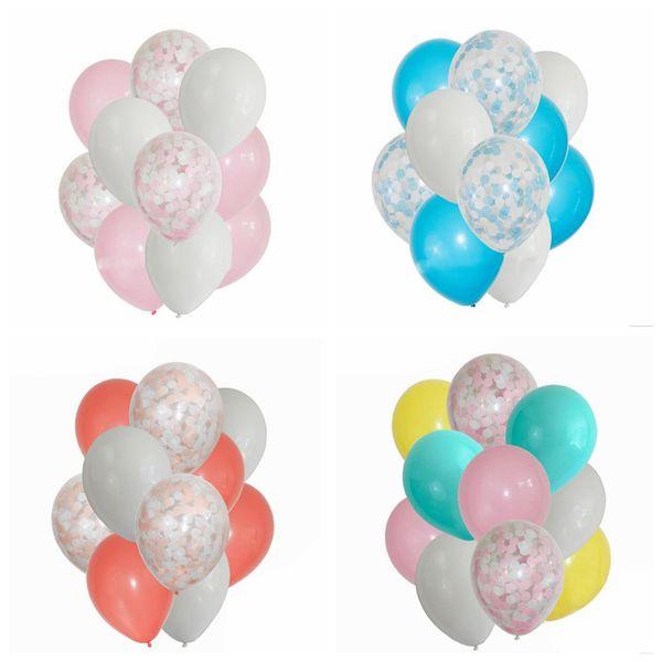 12 zoll alles Gute zum Geburtstag Ballon 12 teile / satz Hochzeitstag Latex Klar Konfetti Ballons Decor Party Supplies OOA5997