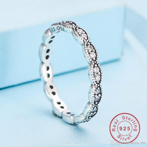 sólida 925 Sterling Silver Ring Sedutor brilhante anel de dedo Marquise empilhável Nlm99 Nlm99 Vintage com Clear CZ Original Fine Jewelry