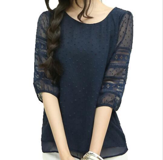 Корея женский стиль мода Sheer блузки Половина рукава Blusas шифоновые рубашки кружева шить плюс размер S-5xl