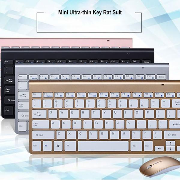 Juego de mini mouse y teclado de estilo ultrafino de estilo plano ultrafino Juego de mouse y teclado inalámbricos USB Vmt-01
