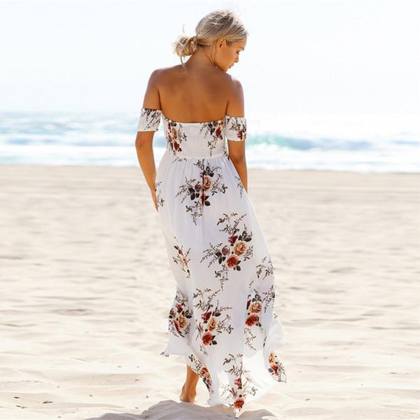 33079e29a6 5XL Long Boho Dress Sexy Strapless Elastic Print Beach Dress 2018 New  Summer Plus Size Women