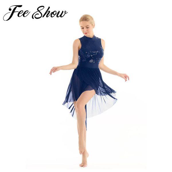 Corpetto di pizzo lucidi Paillettes donne di ballo di balletto del Leotard di ginnastica del vestito della ballerina Costume di scena lirica Lode Ballando Tutu Skirt