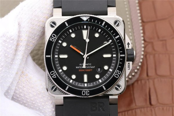 INSTRUMENTS BR0392Diver, waterproof PELICAN box, men's wrist watch, automatic mechanical movement, rubber strap and compact bottom