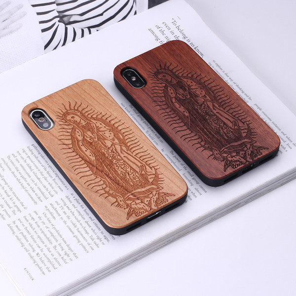 Vintage Floral Mandala Ethnic Mexican Style Wood Case For iPhone 7 6 Plus 8 8Plus XS Max Case Coque Phone For SAMSUNG S8 S9lus