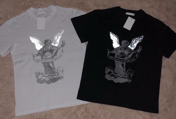 Diseñador de la marca de moda Para hombre mujer Devil angel 3M imprimir manga corta camiseta de algodón cuello redondo camiseta Tee Tops