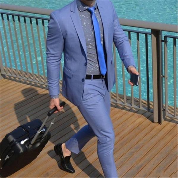 Two Buttons Notch Lapels blue Coat Men Suits For Wedding 2Pieces (Jacket+Pants) Custom Homme Terno Slim Fit mens suit Blazer