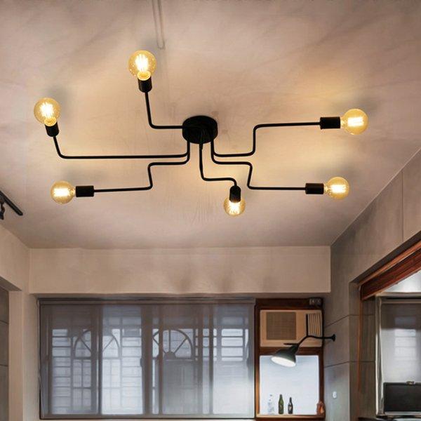 Großhandel Moderne Eisen Industrie Gemalt Nordic Deckenleuchten E27 LED Art  Deco Deckenleuchte Leuchte Für Wohnzimmer Schlafzimmer Küche Bar Von ...