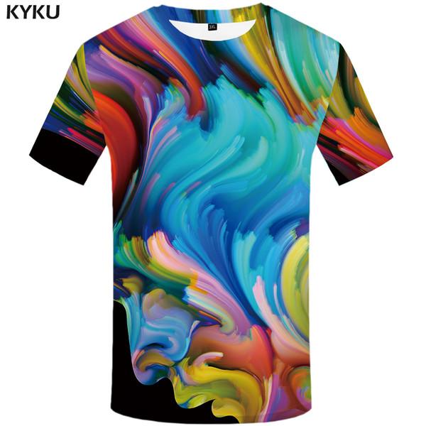 separation shoes b0e3b d03a6 Acquista Divertente T Shirt Art T Shirt Da Uomo Graffiti Tshirt Stampato T  Shirt Colorata 3D Astratto Tshirt Homme Character Stampa Abbigliamento Uomo  ...