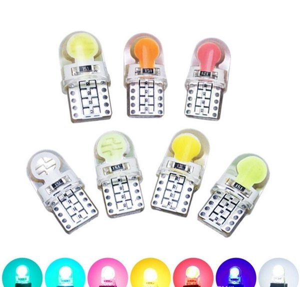 T10 194 168 W5W COB SMD LED Silicone Blanc Brillant Licence Lampe Ampoule Wedge Lampe De Voiture style LED 12V