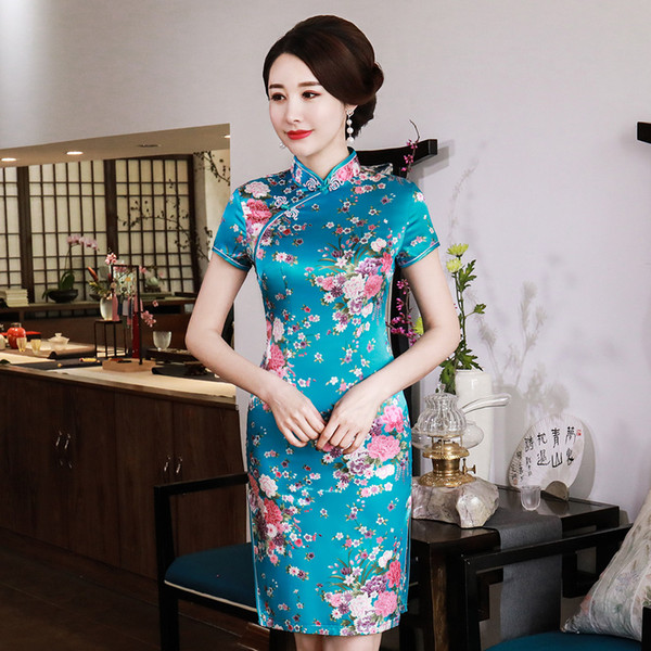 Gola mandarim Lady Clássico Estilo Chinês Vestido Vintage Mulheres de Manga Curta Qipao Novelty Rayon Cheongsam Tamanho Grande Vestidso