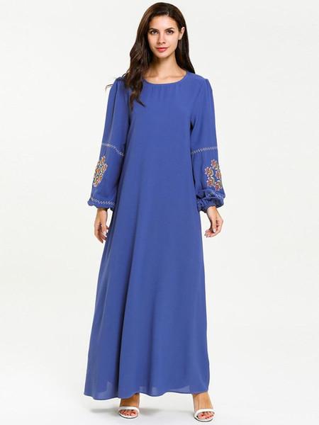 Womens Muslim Long Sleeve Bandage Embroidered Long Maxi Dress Vintage Dresses Kaftan dubai clothing abayas for women 7637#
