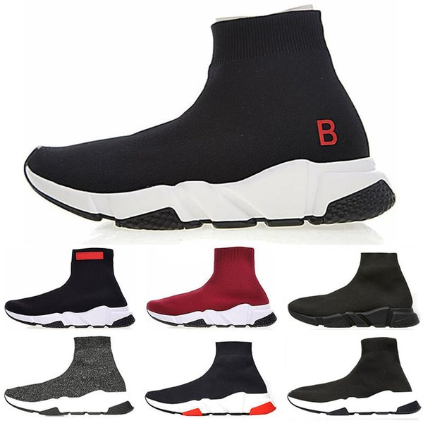Best discount 2019 Speed Trainer Luxury Shoes red grey black white Flat Classic Socks Boots Sneakers Women Trainers Runner size 36-45