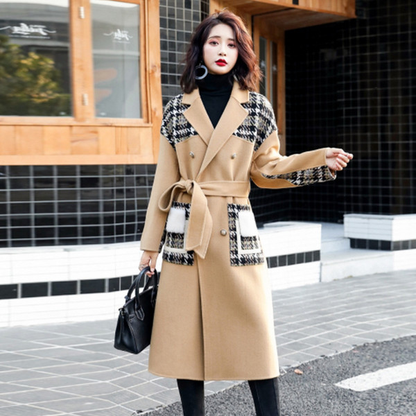 high-end women's woolen coat female long section over the knee 2019 autumn and winter new tie belt waist plaid woolen coat
