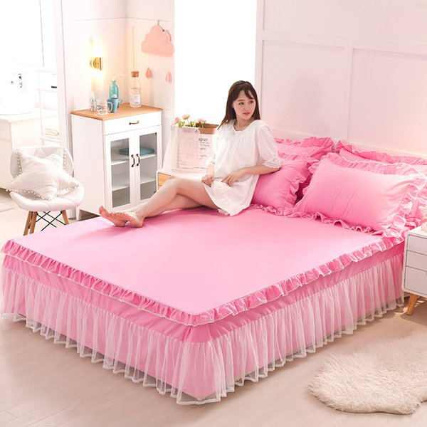Solid Color Lace Bed Skirt Pillowcases 1/3pcs Pink Princess bedding Bed Sheet Korea Bedspreads Linen For Girls Mattress cover