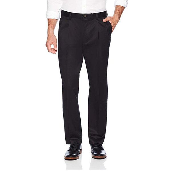 New Fashion Black Men's Relaxed Fit Pieghe-Non-Iron Dress Chino Pant Customed Formal Suit Pants
