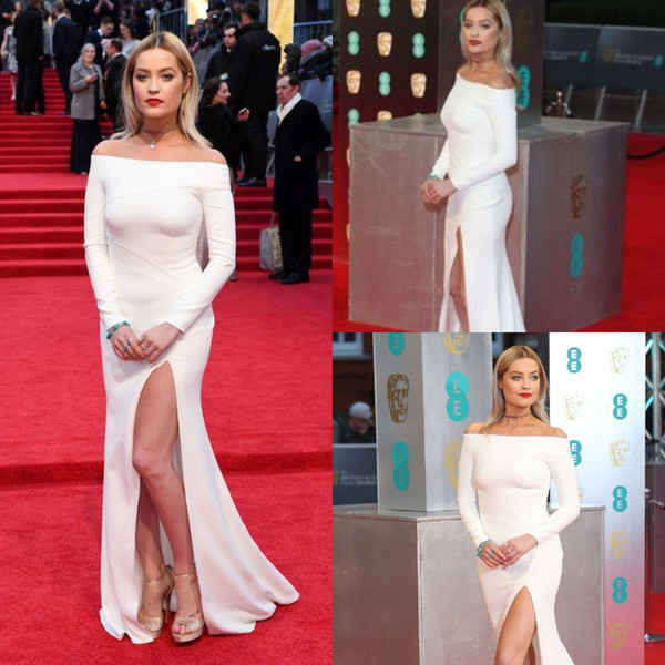 laura-Simple Tight White Long Prom Dresses Cut Out Front Bateau Pleat Long Sleeves Formal oscars celebrity Evening Gowns Bohemian 2013 Cheap