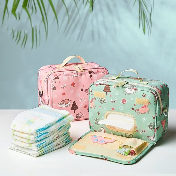 Cartoon Baby Diaper Bags Maternity Bag printed for Disposable Reusable Fashion Prints Wet Dry Diaper Bag storage Handle Wetbags FFA2295