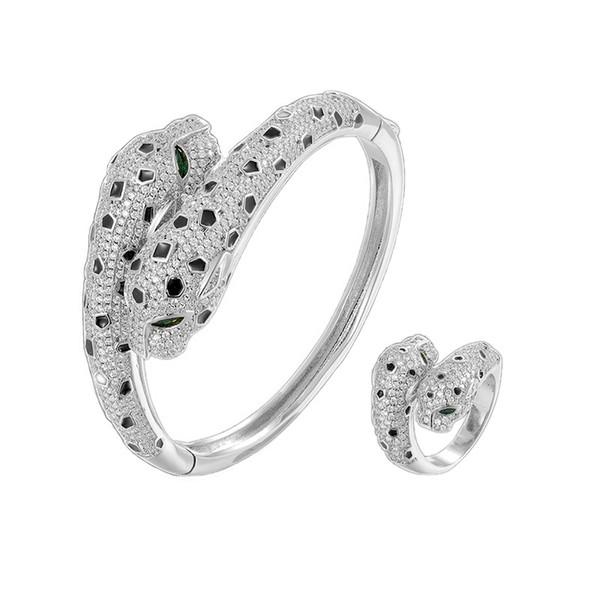 Ouro branco / 1 conjuntos (pulseira + anel)