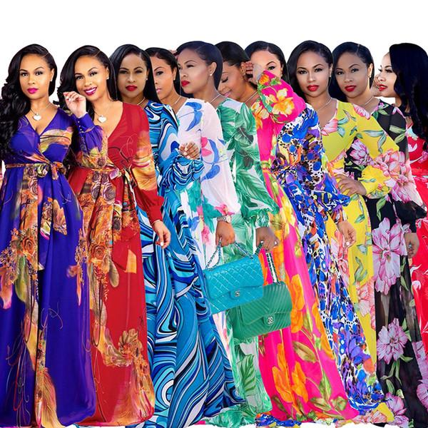 Hot Sale 2019 Deep V Neck Long Lantern Sleeve Floor Length Dress Spring Plus Size Beach Maxi Dress