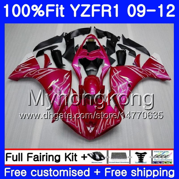 Injection For YAMAHA YZF 1000 R 1 Rose Pink hot YZF R1 2009 2010 2011 2012 241HM.27 YZF-1000 YZF-R1 YZF1000 YZFR1 09 10 11 12 Fairing Kit
