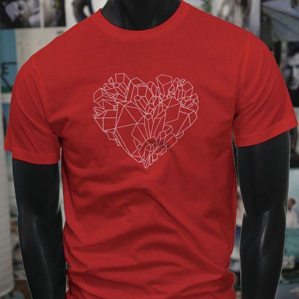 Crystal Shaped Heart Gems Rare Minerals Stones Mens Red T-Shirt T-Shirt Men Man's Leisure Custom Short Sleeve Plus Size Family T Shirts