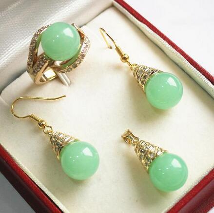 Свадебные благородные новые украшения Натуральный зеленый 12мм зеленый кулон с драгоценными камнями, серьги в виде ожерелья, набор из серебра