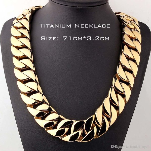 Esagerato 71 centimetri Gold Chain * 3,2 centimetri Gioielli Top Quality Real Steel Titanio Heavy Curb Cuban link collane per uomo