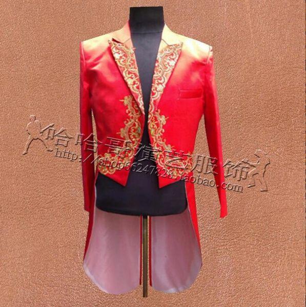 Вышивка Одежда Мужчины Tuxedo Костюмы Designs Homme Terno Мужчина для этапа Singers куртки мужского Blazer танца звезды платья стиль Punk