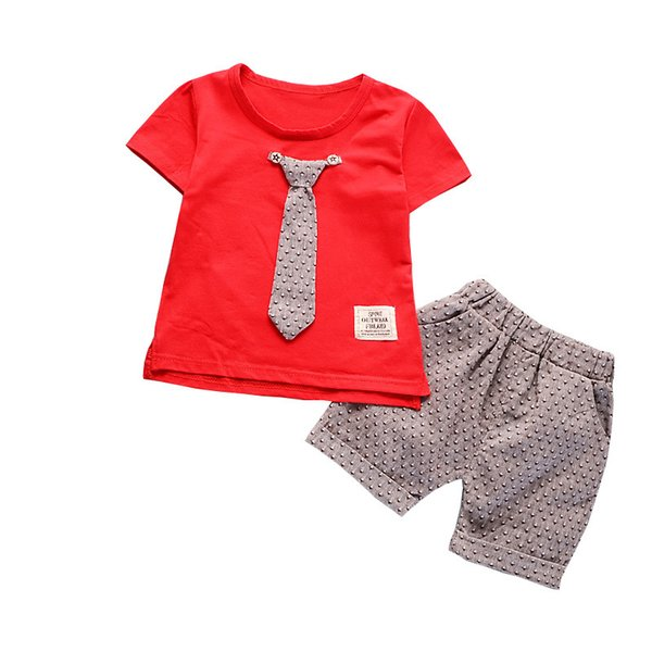 good quality Summer Baby Boy Clothing Set Kids Clothes Set Tie Tops + Shorts Boys Sport Suits 2PCS Clothing Children Tracksuit