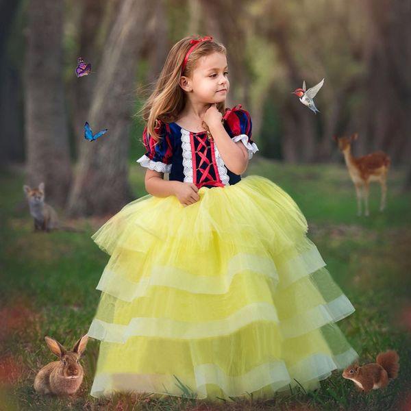 best selling 2019 Snow White Skirt Girl Children's Cake Net Dress Halloween Performance Dress Halloween Dress.