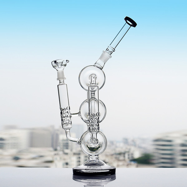 13.8 Inchs Glass Water Bongs Glass Pipe Recycler Dab Oil Rig Heady Glass Water Pipe With 14mm Bowl Shisha Hookahs