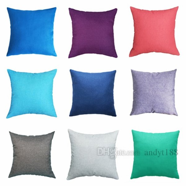Hot Quality pillow case plain linen pillowcase fashion sofa cushion cover car pillowcase decoration home decoration T2I5064
